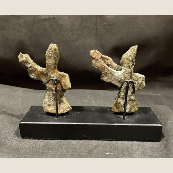 Ancient Chinese Glazed Pair of Dancers