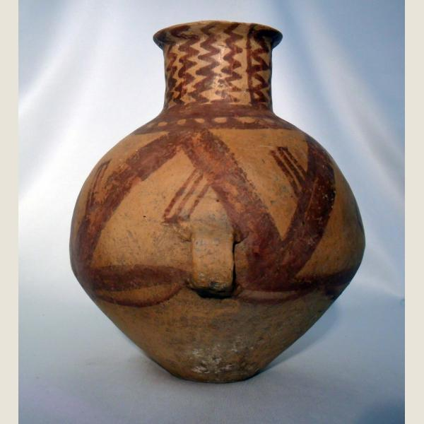 Ancient Chinese Neolithic Twin Handled Vessel