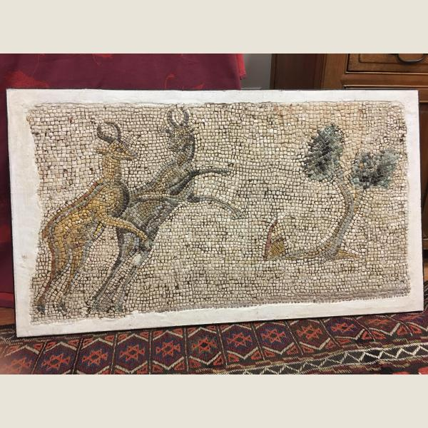 Ancient Roman Mosaic of Gambolling Antelopes
