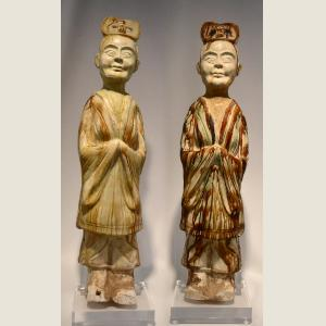 Image For: Ancient Chinese Pair of Straw-Glazed Officials