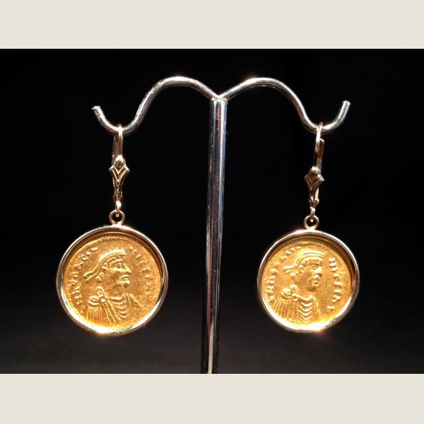Ancient Byzantine Gold Coin Earrings