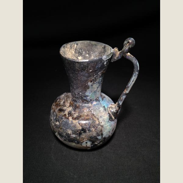 Ancient Roman Glass Looped Handled Pitcher