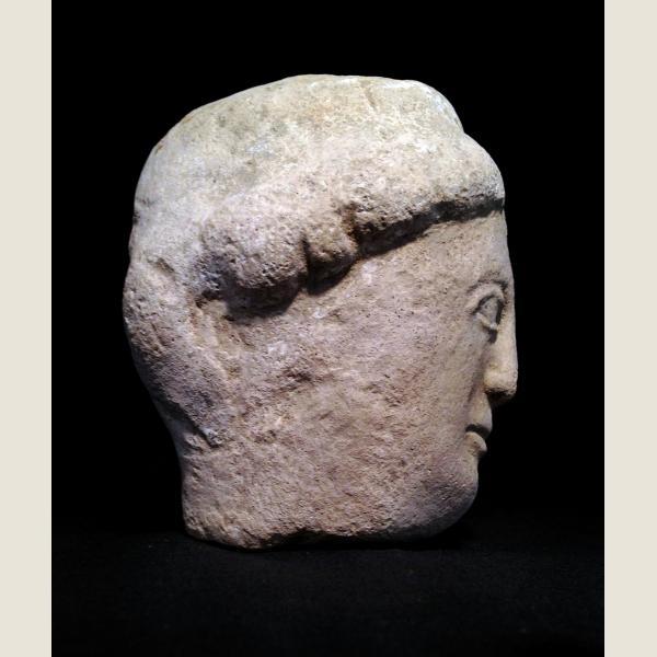 Ancient Greek Cypriot Limestone Head