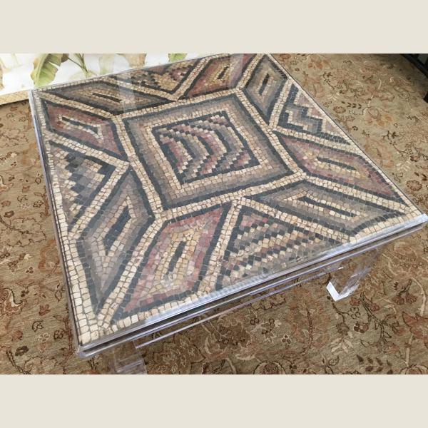 Ancient Roman Mosaic In Custom Lucite Table