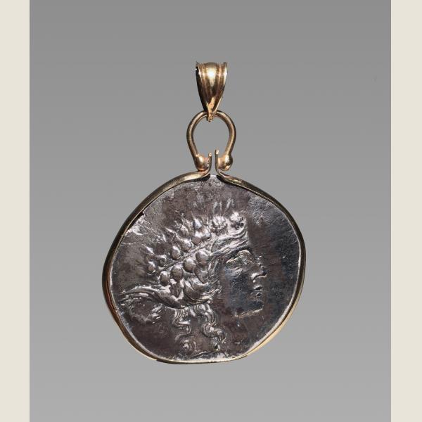 Ancient Greek Silver Drachma Pendant