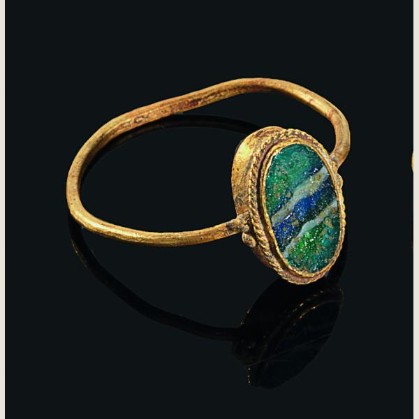 Ancient Roman Glass Inlay Gold Ring