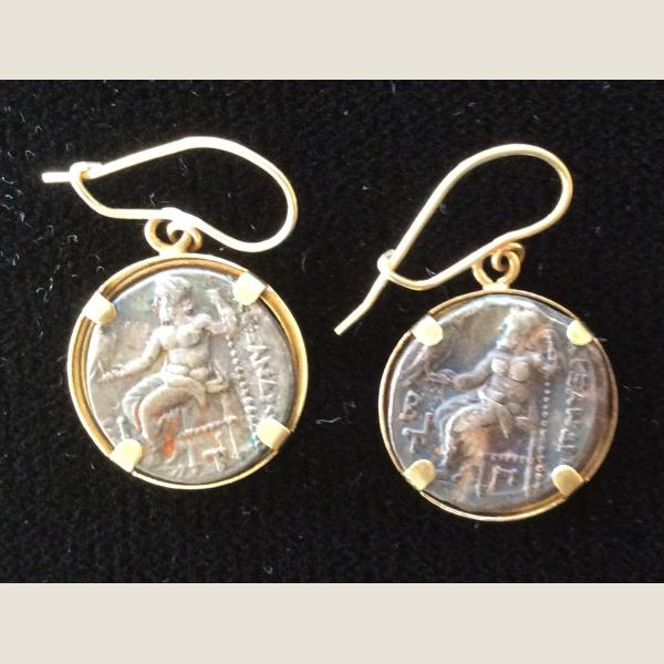 Ancient Greek Silver Drachma Earrings