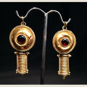 Image For: Ancient Persian Gold and Garnet Earrings