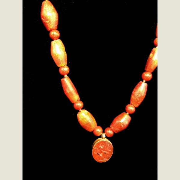 Ancient Roman Carnelian and Gold Bead Necklace