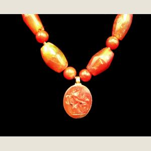 Image For: Ancient Roman Carnelian and Gold Bead Necklace