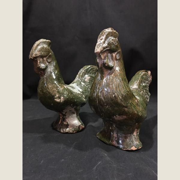 Ancient Chinese Pair of Roosters
