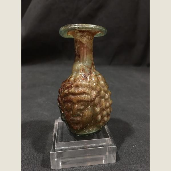 Ancient Roman Glass Janus Head Aryballos