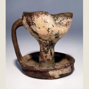 Image For: Ancient Islamic Strap Handled Trefoil Oil Lamp