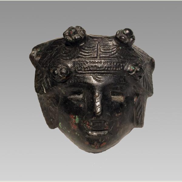 Exceptional Ancient Roman Bronze Applique of Male Head
