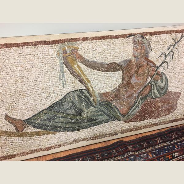 Ancient Roman Mosaic Reclining Man & Cornucopia