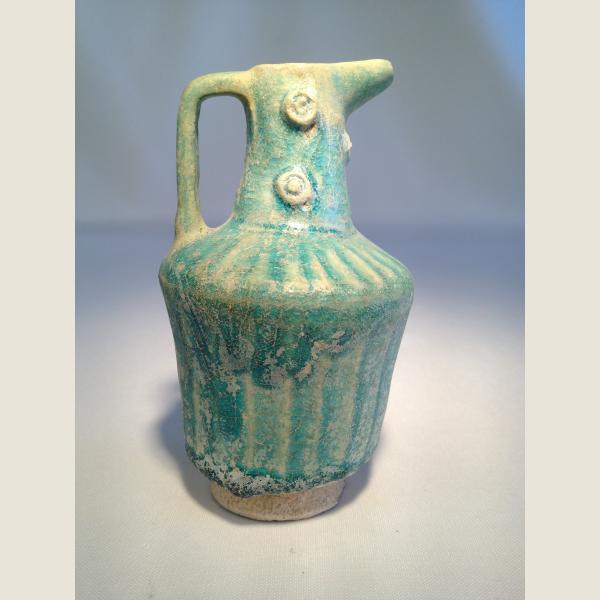 Ancient Islamic Blue Terracotta Pitcher