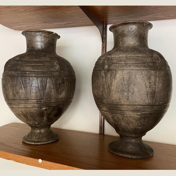 Ancient Sumerian pair of pottery vessels